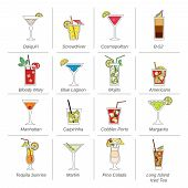 picture of bloody mary  - Alcohol cocktails icons flat line set with mojito bloody mary manhattan isolated vector illustration - JPG