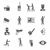 stock photo of prison uniform  - Security guard black icons set with safety officer weapon prisoner isolated vector illustration - JPG