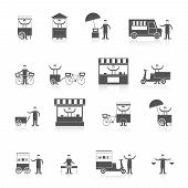 stock photo of food truck  - Street fast takeout food ice cream stall icon black set isolated vector illustration - JPG
