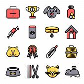 foto of veterinary clinic  - Veterinary icon set with vet clinic symbols and pets isolated vector illustration - JPG