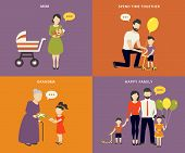 picture of father time  - Family with children kids people concept flat icons set of parenting - JPG