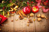stock photo of hazelnut tree  - Xmas holiday table setting border design - JPG