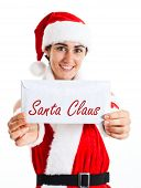 stock photo of letters to santa claus  - Portrait of a beautiful girl wearing showing a letter for Santa Claus - JPG