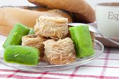 image of baklava  - Heap of Turkish baklava sweets on a saucer - JPG
