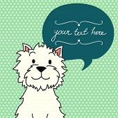 picture of westie  - Cute card template with hand drawn cartoon dog and speech bubble on polka dot background - JPG