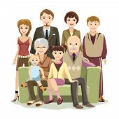 stock photo of niece  - Cartooned Big Happy Family Picture at the Couch Graphic Design on White Background - JPG