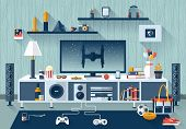 picture of tv sets  - Flat modern design vector illustration concept of creative living room workspace workplace with TV set furniture and long shadows - JPG