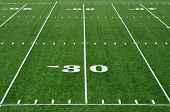 stock photo of football field  - Thirty Yard Line on American Football Field - JPG