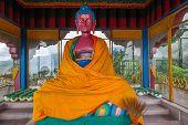 foto of sherpa  - Dressed Buddha statue in Sonada Monastery India - JPG