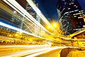 foto of hong kong bridge  - traffic in city at night - JPG