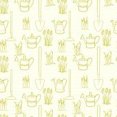 picture of spade  - Garden seamless pattern with doodle watering can spade and spring flowers - JPG