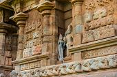 stock photo of tamil  - part of wall Great architecture ancient Gangaikonda Cholapuram Temple India Tamil Nadu Thanjavur  - JPG