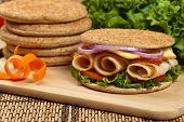 stock photo of sandwich  - Healthy Turkey Sandwich on Whole Wheat Thin Sandwich Roll - JPG