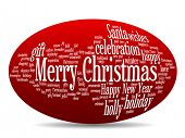 picture of oval  - Concept or conceptual 3D oval or ellipse Merry Christmas holiday or Happy New Year winter abstract text word cloud on red background - JPG