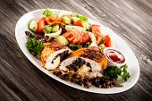 stock photo of turkey-hen  - Grilled chicken fillets and vegetables - JPG