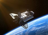 image of orbital  - Space Shuttle Orbiting Earth. Realistic 3D scene.