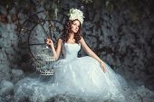 stock photo of mystique  - A girl sits in the winter forest in a beautiful lush dress she keeps the bird cage - JPG