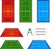 stock photo of deuce  - Different Kinds of Tennis Courts with Perspective - JPG