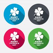 stock photo of four leaf clover  - Clover with four leaves sign icon - JPG