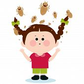 stock photo of lice  - Girl with lice - JPG