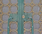 picture of metal grate  - house entrance old metallic door handles and grate detail - JPG