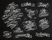 image of statements  - Set ribbons in vintage style with lettering your future is created by what you do today not tomorrow stylized drawing with chalk - JPG