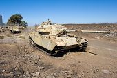 picture of golan-heights  - Centurion tank left of the yom kippur war on  - JPG