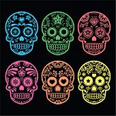 foto of sugar skulls  - Vector icon set of decorated skull in color  - JPG