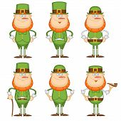 image of leprechaun hat  - A set of six cheerful leprechauns in green suits and hats - JPG