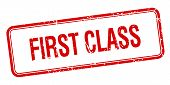 picture of first class  - first class red square grungy vintage isolated stamp - JPG