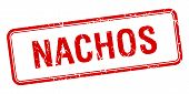 stock photo of nachos  - nachos red square grungy vintage isolated stamp - JPG