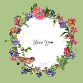 picture of nightingale  - vector floral round frame of brier flowers with bird colored by watercolor - JPG