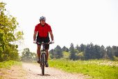stock photo of exercise bike  - Man Riding Mountain Bike Along Path In Countryside - JPG