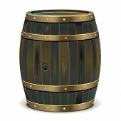 stock photo of cade  - Old Barrel with bronze edging isolated on white background - JPG