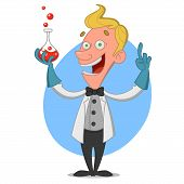 pic of mad scientist  - Chemist with flask - JPG