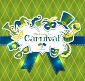 stock photo of venice carnival  - Bright vector carnival icons and sign Welcome to Carnival - JPG