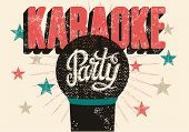 image of karaoke  - Typographic retro grunge karaoke party poster - JPG