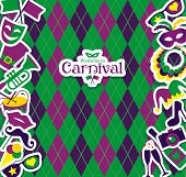 stock photo of carnival brazil  - Bright vector carnival icons and sign Welcome to Carnival - JPG