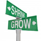 picture of opposites  - Grow Vs Shrink words on two green road or street signs to show the opposite directions of improving or worsening - JPG