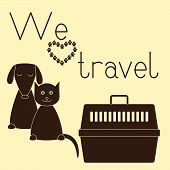 picture of petting  - Cute contoured sitting dog and cat plastic pet carrier with handle and lettering  - JPG
