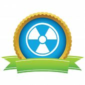 stock photo of nuke  - Gold nuclear logo on a white background - JPG