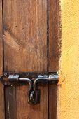 pic of lock  - lock of the door locked with padlock - JPG