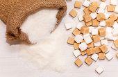 image of sugar cube  - Jute bag full of sugar and sugar cubes - JPG
