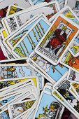 picture of satan  - Classic Tarot cards on a desk for telling the future - JPG