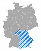 picture of bavaria  - Detailed and accurate illustration of map of Germany with flag of Bavaria - JPG