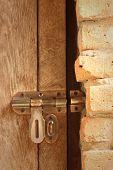 picture of lock  - lock of the door locked with padlock - JPG