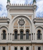 picture of synagogue  - architectural detail of the Spanish Synagogue in Prague the capital and largest city in the Czech Republic - JPG