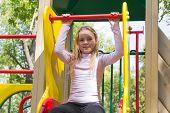 foto of stairway  - Photo of cute girl on gymnastic stairway - JPG