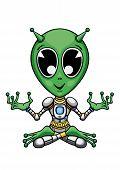 pic of padmasana  - Illustration cartoon green alien - JPG