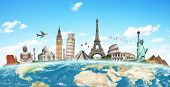 stock photo of world-famous  - Famous monuments of the world grouped together on the planet Earth - JPG
